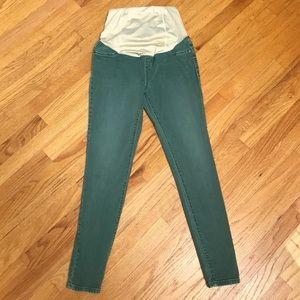 Ingrid & Isabel skinny green maternity jeans